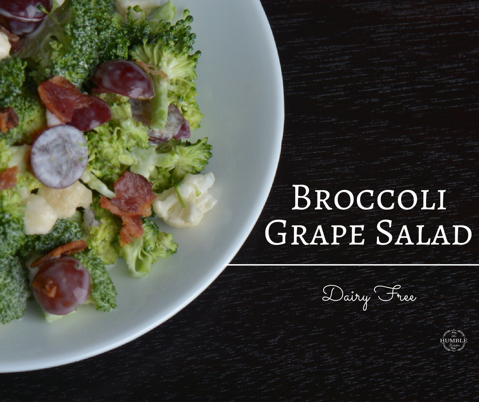 broccoli salad with red grapes and crispy bacon. dairy free